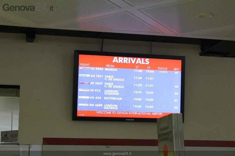 Aeroporto Colombo - pannello arrivi