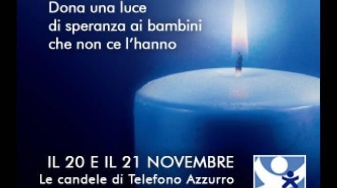 Telefono azzurro candela