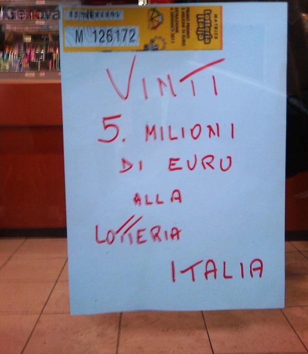 Genova - lotteria italia primo premio