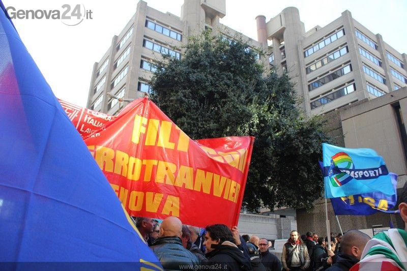Genova Protesta lavoratori AMT 18 febbraio