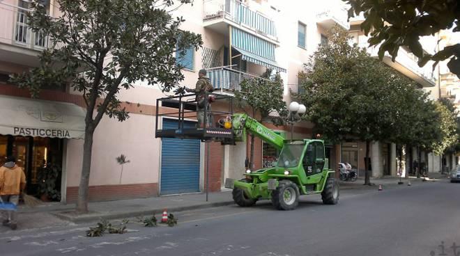Albenga lavori Via Patrioti