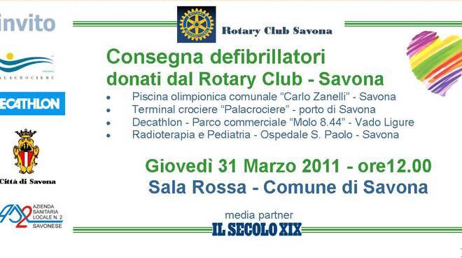 invito consegna defribrillatori Rotary
