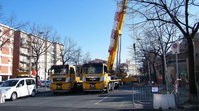 lavori in via Milano Albenga