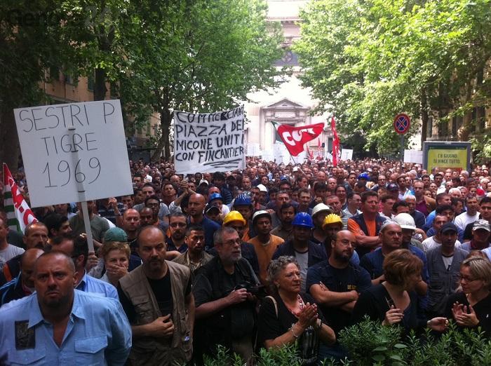 protesta fincantieri a sestri ponente 27 maggio