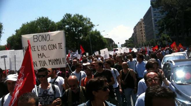 Roma - Protesta fincantieri