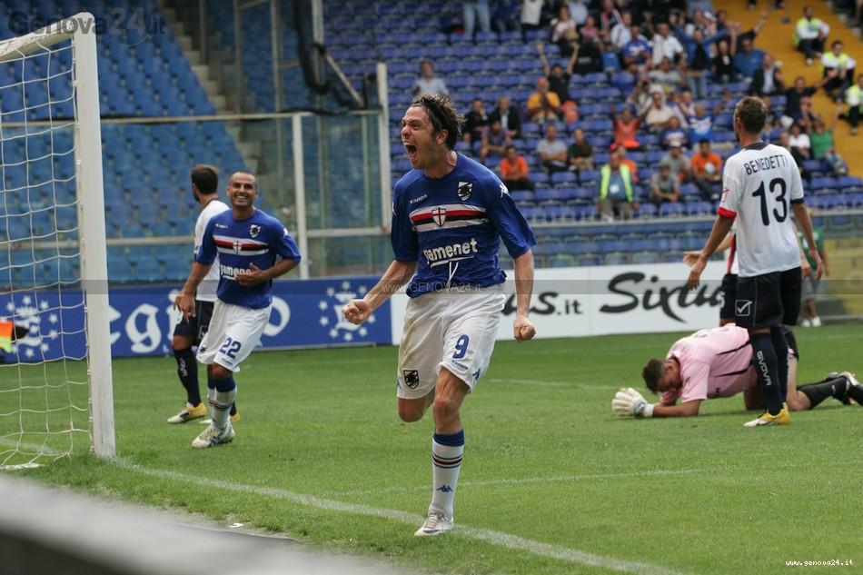 Sampdoria - Esultanza al gol di Nicola Pozzi