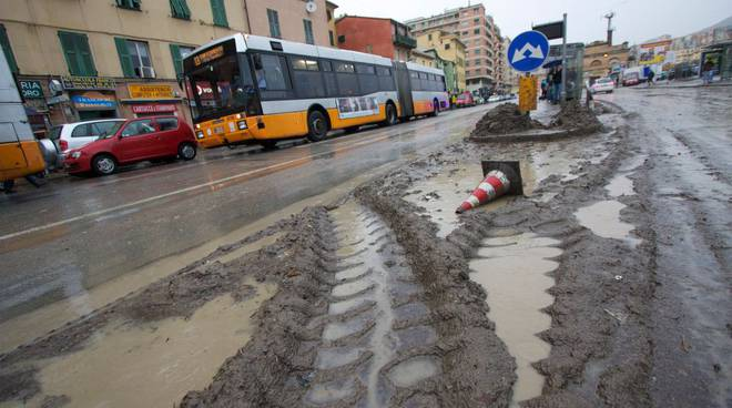 Alluvione Genova fango