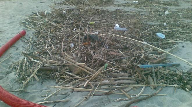 spiaggia sporca, mareggiate