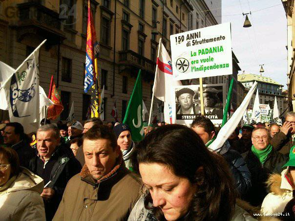 manifestazione lega nord a milano