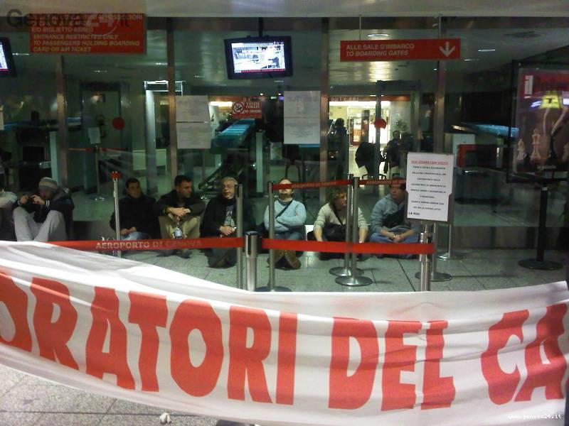 protesta lavoratori fincantieri aeroporto genova
