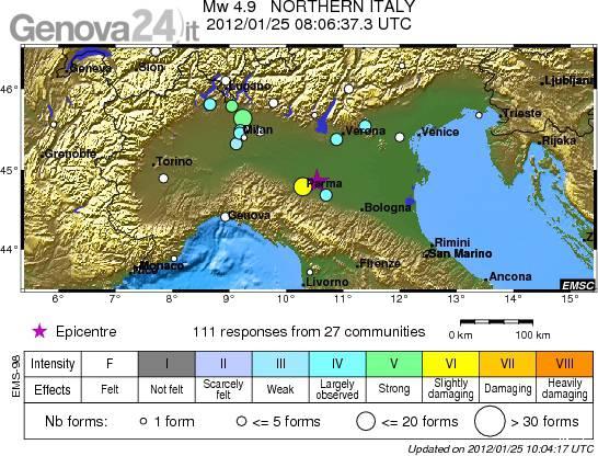terremoto 25 gennaio