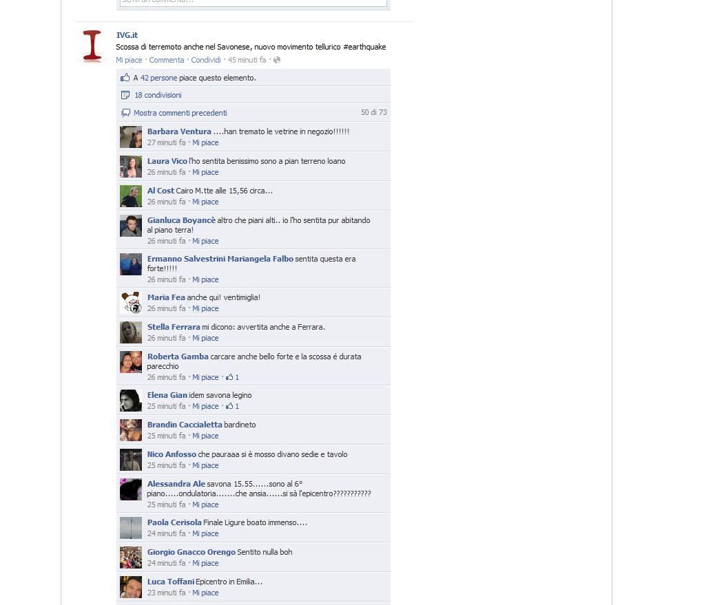 terremoto facebook