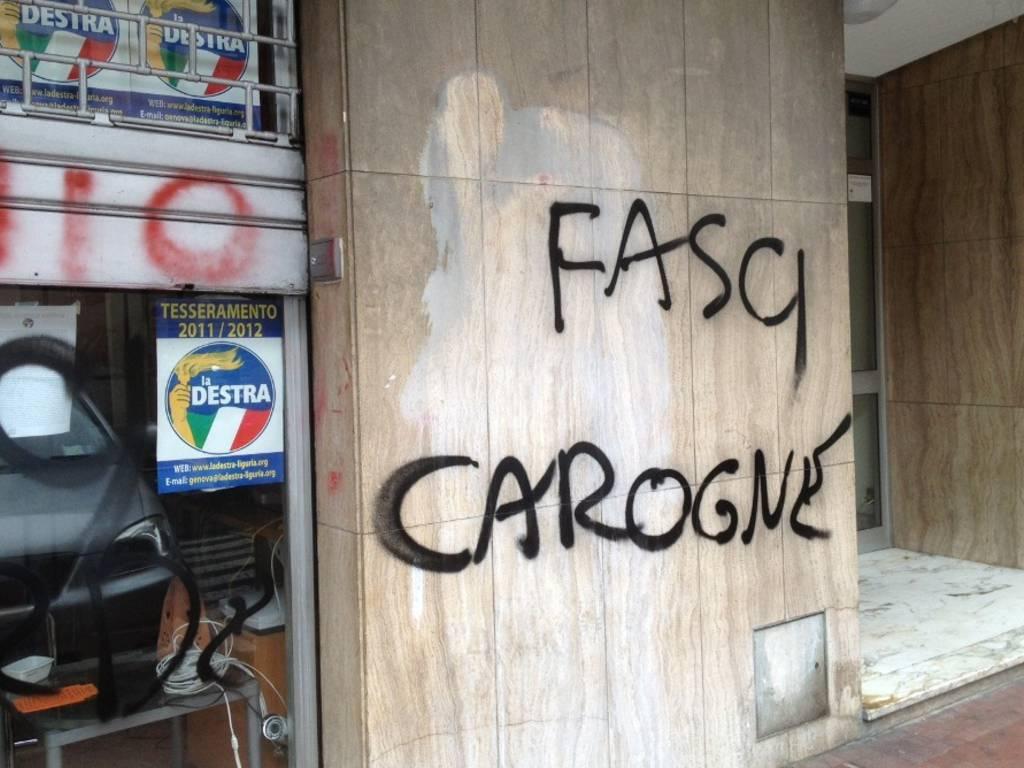 insulti e scritte sede La Destra Savona