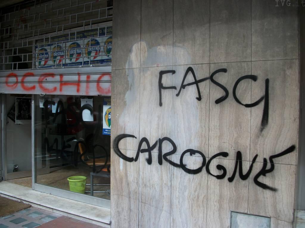 scritte sede La Destra Savona