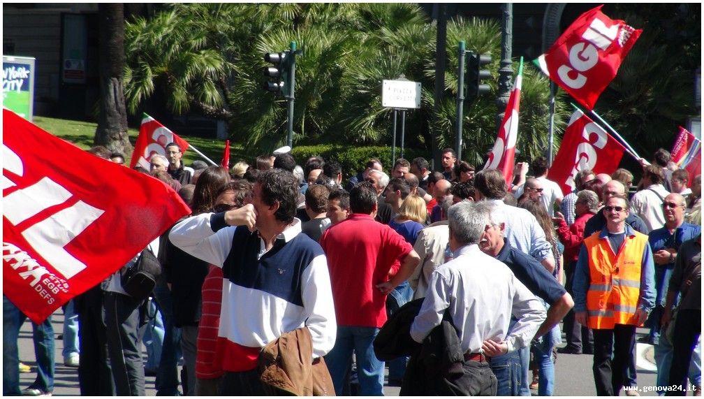 Genova - prtesta lavoratori Filctem CGIL