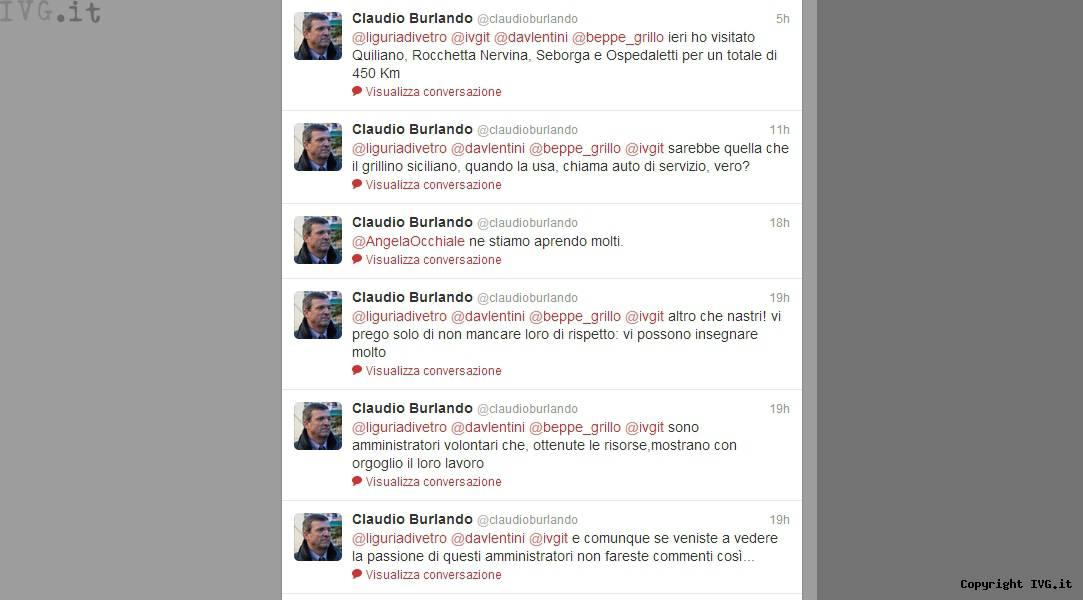 Burlando Twitter auto bly