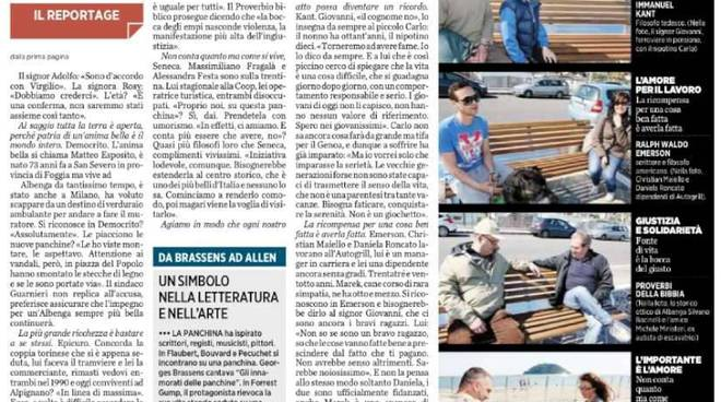 Le panchine letterarie di Albenga alla ribalta sui quotidiani nazionali