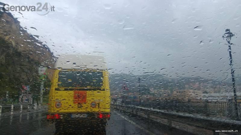 pioggia, scuolabus