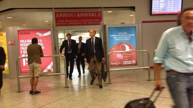 Letta in aeroporto con Burlando e Doria