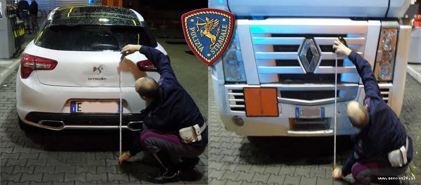 polizia stradale, auto, camion