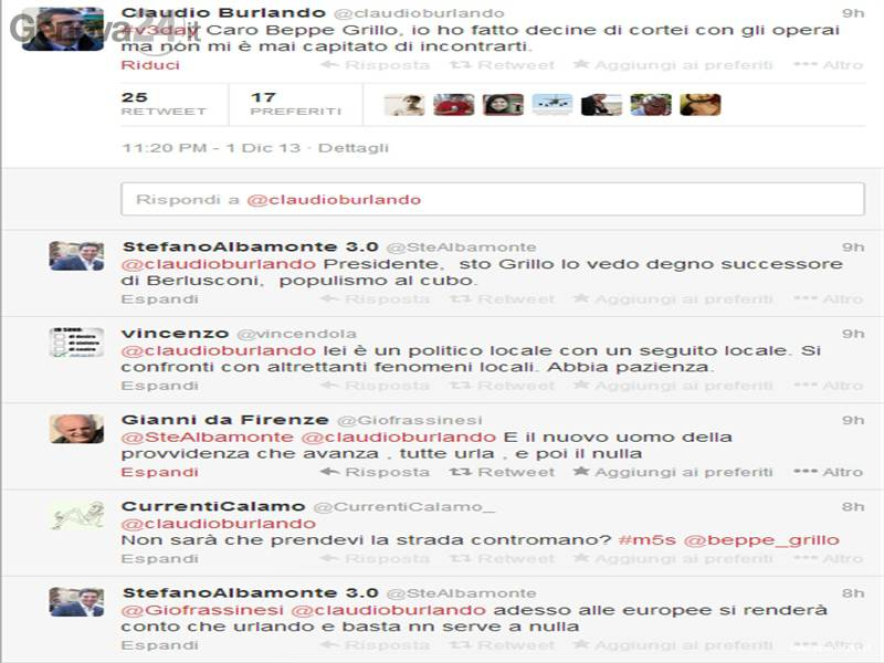 claudio burlando beppe grillo twitter