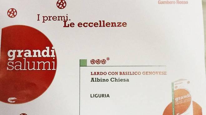 """Finale, il Gambero Rosso premia il Salumificio Chiesa con le """"tre fette"""""""