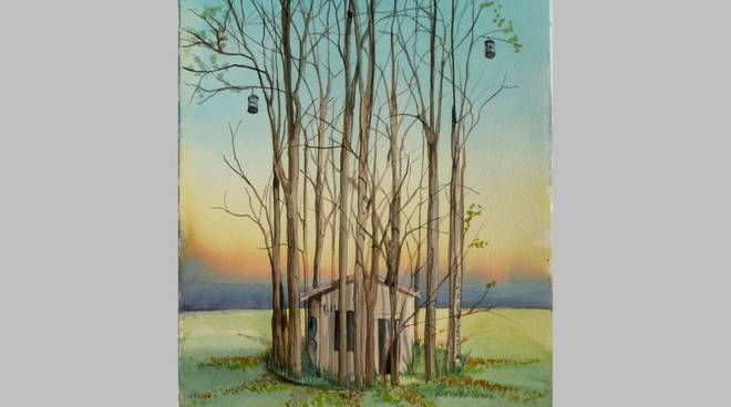 Maria Luisa Montanari, Nella gabbia del tempo, acquerello su carta