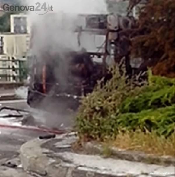 bus incendio fiamme