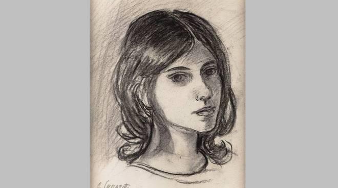 Oscar Saccorotti, Ritratto di Domenica, carboncino su carta, cm. 30x25