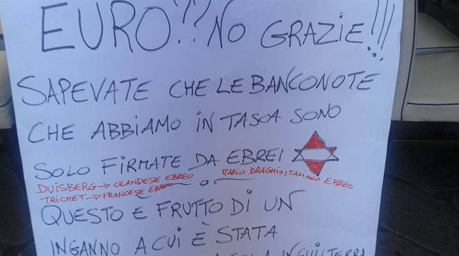 cartello antisemita bar a Genova
