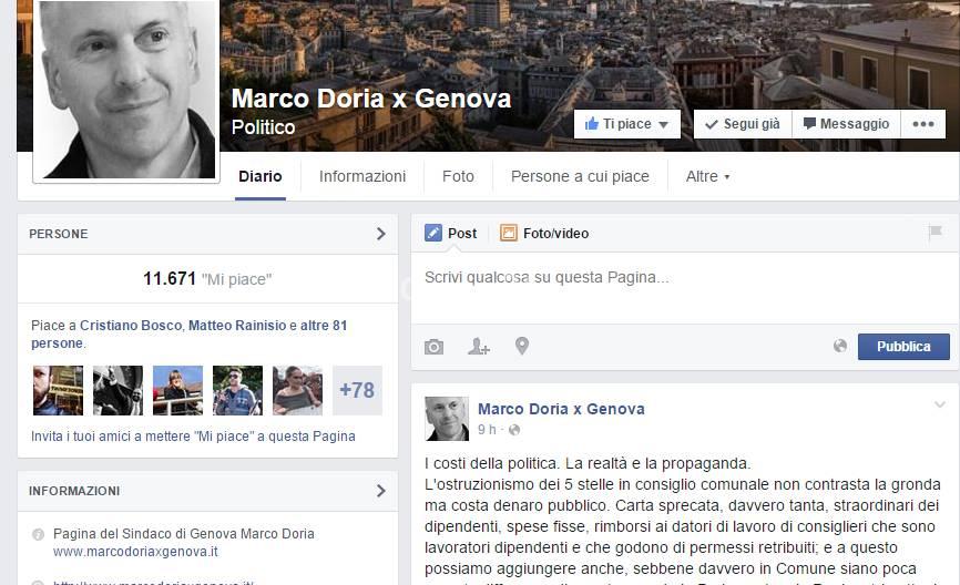 marco doria contro m5s su facebook