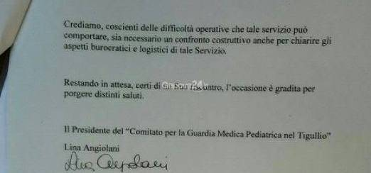 guardia medica pediatrica, lettera ai sindaci