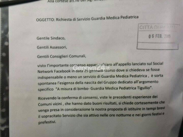 lettera guardia medica pediatrica rapallo