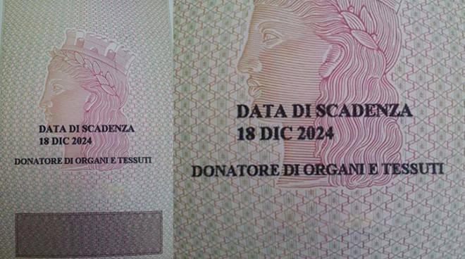 carta identità donatore organi
