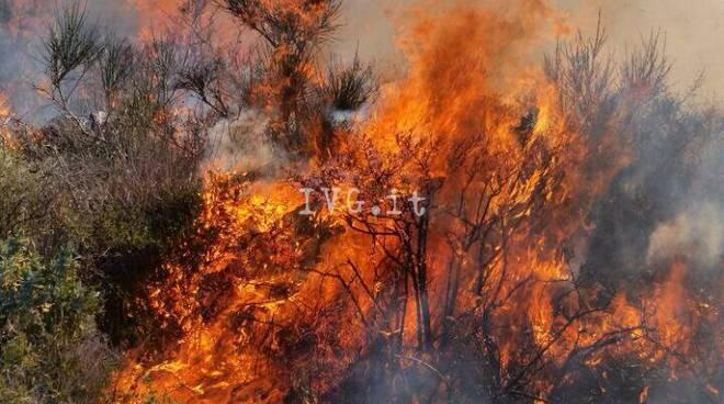 Incendio boschivo ad Andora