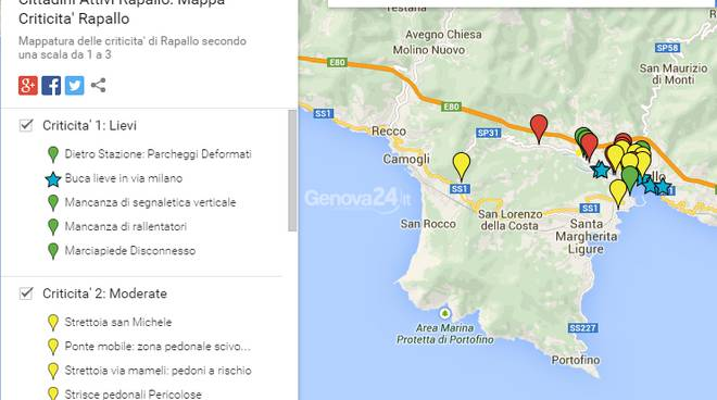 Mappa delle criticità di Rapallo