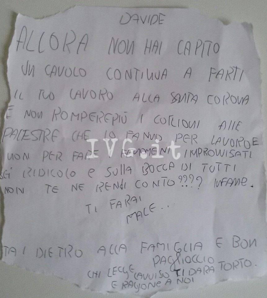 Lettera Minatoria Davide Carosa