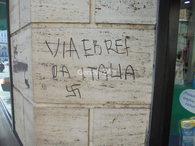 Scritta antisemita in via Balbi
