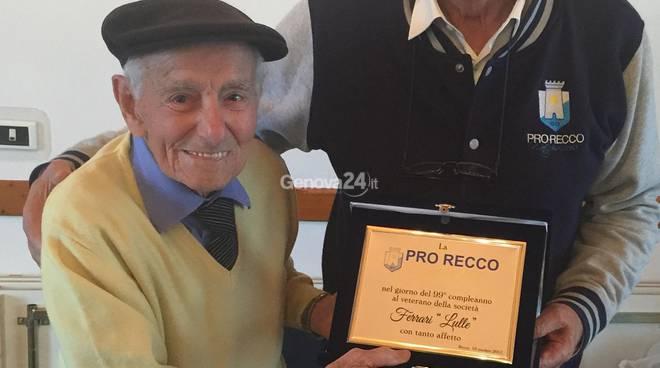 Il più anziano pallanuotista della Pro Recco, Lulle Ferrari