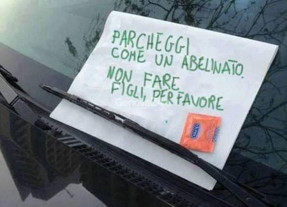 """""""Parcheggi come un abelinato"""", foto da Il Mugugno Genovese"""