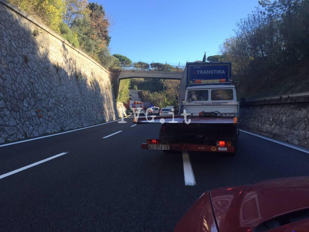 Incidente in A10: code tra Savona e Celle