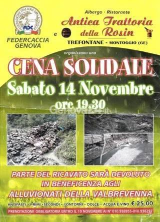 Locandina cena solidale a Montoggio