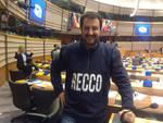 Salvini a Bruxelles con la maglia di Recco