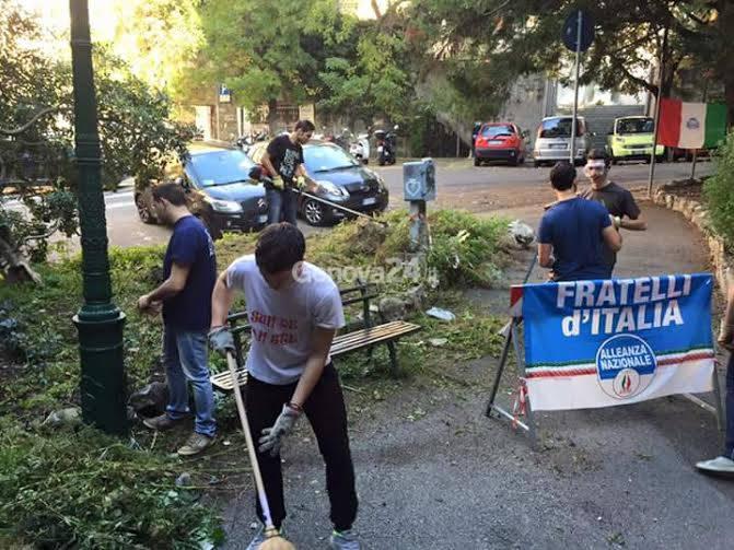 Gioventù Nazionale pulisce piazza dei Cappuccini