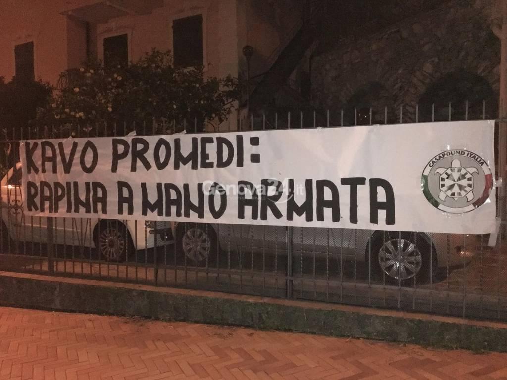 Striscione di CasaPound sulla Kavo Promedi