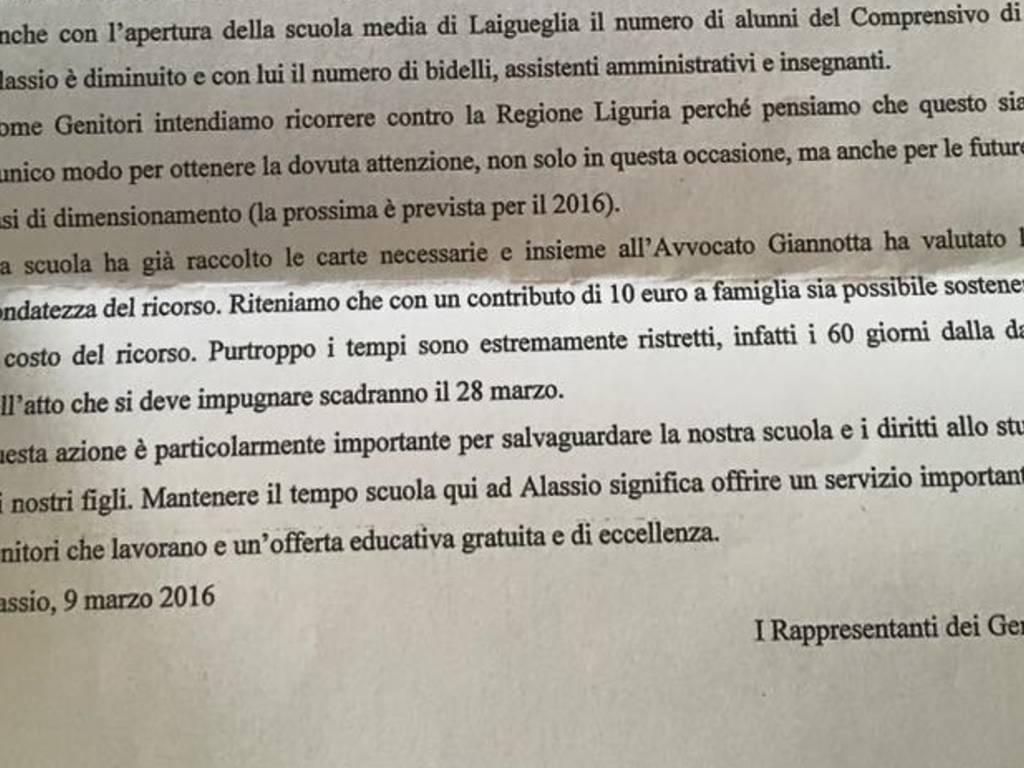 Lettera Genitori Istituto Comprensivo Alassio