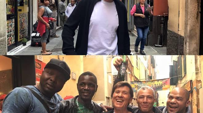 Gianni Morandi in via Prè e in via del Campo