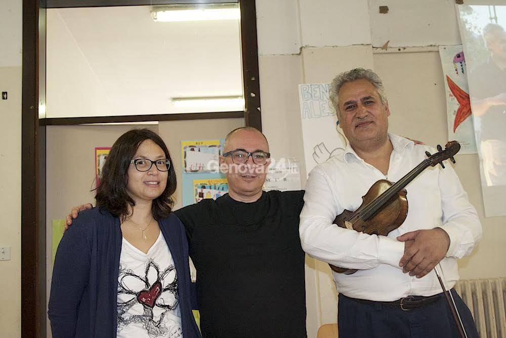 Il maestro Tessian con lo scrittore Roberto Malini e la mediatrica culturale Manuela Magalhães