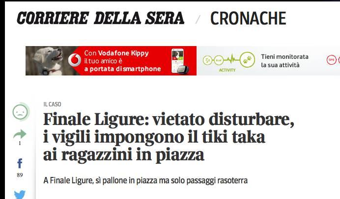 """Il """"tiki taka"""" di Finale Ligure fa il giro del web"""