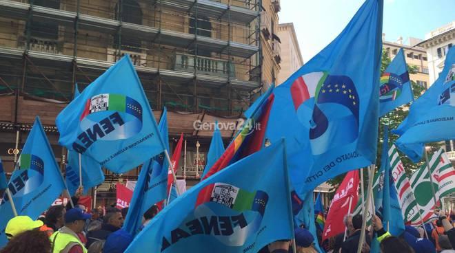 Manifestazione lavoratori appalti autostrade